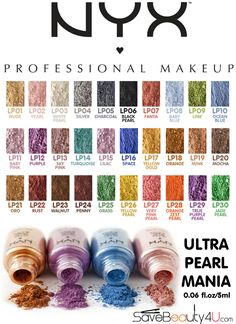 NYX Loose Pearl Eyeshadow Ultra Pearl Mania I have white pearl its AWESOME.wana try rust, penny, n one of the greens Makeup Dupes, Glam Makeup, Love Makeup, Beauty Makeup, Makeup Products, Makeup 2016, Drugstore Beauty, Makeup Kit, Makeup Inspo