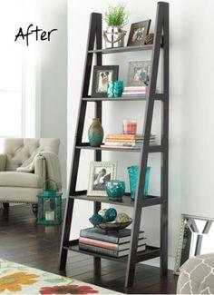 """Ladder Bookshelf – """"Home Library Ladder Shelf"""" – Bookshelf Decor Ladder Shelf Decor, Ladder Bookshelf, Library Ladder, Bookshelf Ideas, Leaning Bookshelf, Rustic Bookshelf, Diy Bookcases, Rustic Ladder, Library Room"""