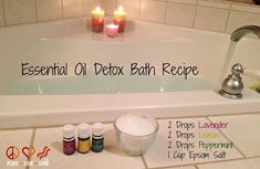 Essential Oil Detox Bath Recipe (I use 2 c epsom and 1 c baking soda plus oils) Lemon - Revitalizing, refreshing, antiseptic, supports circulation, immunity, clarity of thought, mental accuracy and concentration Lavender -  calming, relaxing, and soothing, helpful for skin conditions Peppermint - Cooling, soothing, helps with appetite.