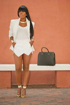 All white outfit.