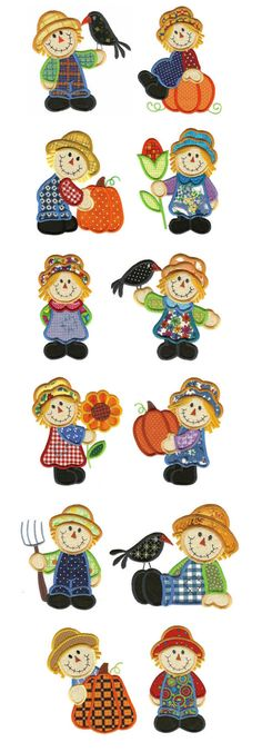 Embroidery | Machine Embroidery Designs | Scarecrow Applique Designs by Designs by JuJu  Love your scarecrows!!!