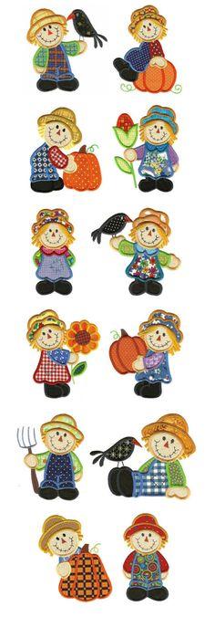 bordados o aplicar en tela Embroidery | Machine Embroidery Designs | Scarecrow Applique Designs by Designs by JuJu Love your scarecrows!!!