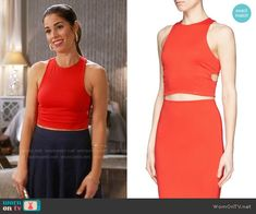 3f53ce5393dcd2 Marisol s red cutout crop top and navy mesh skirt on Devious Maids