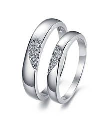 Buy Cara sterling silver and  certified Swarovski stone Half & Half Couple Bands engagement-gift online
