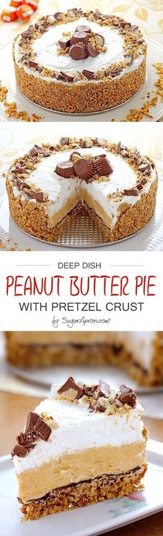 Peanut Butter Pie with Pretzel Crust.A pie with pretzels, peanut butter, cream cheese and chocolate - a combination of crunchy and creamy, sweet and salty. it sounds wonderful, doesn't it? This could be dangerous. 13 Desserts, Delicious Desserts, Dessert Recipes, Cake Recipes, Yummy Food, Recipes Dinner, Holiday Recipes, Cupcakes, Cupcake Cakes