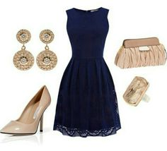 LOVE this navy dress, with nude heels and the earings. The lace like overlay and how it shows at the bottom is cute!