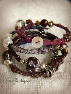 Layered Vintage Gypsy Bangle Bracelet Stack by QueenBe
