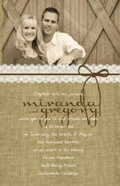 Vintage Burlap And Lace Wedding Invitations