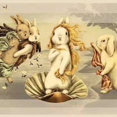 Funny pictures about Birth Of Bunny-Venus. Oh, and cool pics about Birth Of Bunny-Venus. Also, Birth Of Bunny-Venus photos. Art And Illustration, Rabbit Illustration, Bunny Art, Cute Bunny, Lapin Art, The Birth Of Venus, Rabbit Art, Bunny Rabbit, Honey Bunny