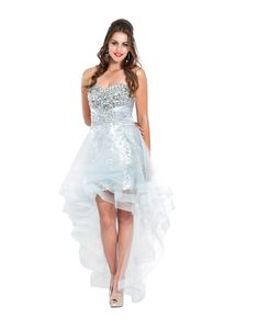 White Sparkle Dress | Strapless corset sparkly silver sequin high low prom dresses discount