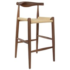 Hans Wegner Elbow Stool Replica - $498. Top of back is at counter height. 4 fit comfortably. Get wood samples