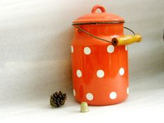 Pour Charlotte. Soviet milk can / pot . Vintage orange 10.6'' shabby chic polka dot  milk churn from Soviet USSR era. 1970's. Home, kitchen, garden decor. $59.00, via Etsy.