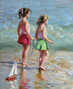 Girls at the beach,painting by Razumov.......