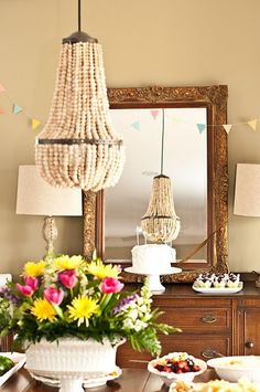 Turn regular stripped lampshade frame upside down add strings of diy beaded chandelier greentooth Choice Image