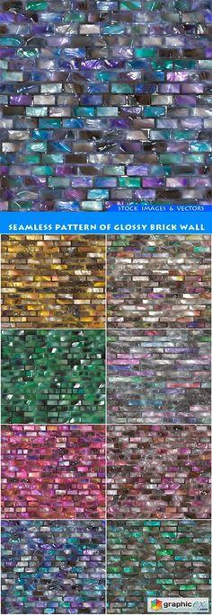 Seamless pattern of glossy brick wall 8X JPEG  stock images