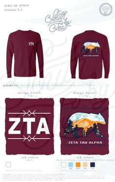 Zeta Tau Alpha | Bear Tee Shirt Design | Vintage Tee Shirt Design | ZTA | South by Sea | Sorority Shirts | Sorority Tanks | Greek Shirts | TShirt Ideas | Tee Shirt Ideas
