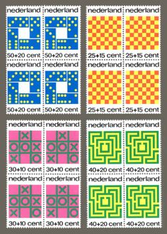 Stamps from the Netherlands depicting various types of games.