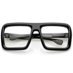 Oversize Bold Thick Frame Clear Lens Square Eyeglasses 58mm