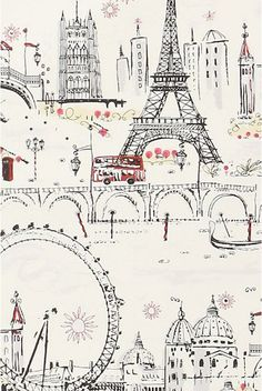 paris themed wallpaper | ... drawing. How amazing would this look as wallpaper on a random wall