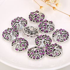 10pcs/lot Wholesale Snap Buttons Rhinestone Tree of Life Snap Button For Snap…