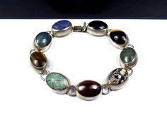 "TAXCO Sterling Silver 925 Mexico Natural Stone Sodalite Onyx 7.25"" Link Bracelet #Taxco #mothersday #handmadebracelet #southwestjewelry #sterlingsale #USseller #Sterlingfashion"