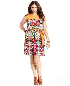 Love Squared Plus Size Dress, Sleeveless Floral-Print Belted - Plus Size Dresses - Plus Sizes - Macys