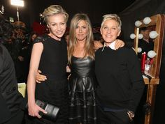 From left, actresses Portia de Rossi and Jennifer Aniston and TV personality Ellen DeGeneres attends the annual People's Choice Awards at Nokia Theatre L. Live on Jan. in Los Angeles. Ellen Degeneres Birthday, Ellen Degeneres And Wife, Portia Degeneres, Jennifer Aniston Wedding Dress, John Aniston, Ellen And Portia, Portia De Rossi, The Ellen Show, Celebs