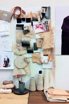 Textiles & Fashion design studio - creative workspace, mood wall & materials // Brit van Nerven