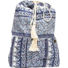 Billabong Women's Shanti Bound Backpack (€25) ❤ liked on Polyvore featuring bags, backpacks, accessories, blue indigo, billabong, blue drawstring backpack, slouchy hobo bag, hobo backpack and woven backpack