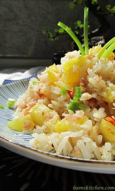 Hawaiian Luau Rice by bamskitchen: A little sweet, a little savory and little bit tropical and the perfect cure for the dog days of summer. #Rice #Pineapple #Coconut #Garlic #Ham