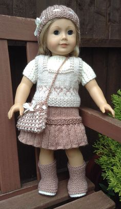 American Girl Doll.Girly Tank Top Set PDF Knitting by jacknitss