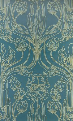 Historische Tapeten - Tulip motif in yellow and blue, Joseph Maria Olbrich, cal 1900.