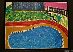 David Hockney, Montcalm Pool, LA, 1980, oil on canvas, 12 x 16 in., Richard Gray Gallery Chicago .