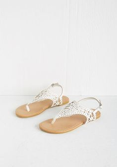 Engagement Picnic Sandal in Ivory. Celebrate love in these ivory sandals! #white #modcloth