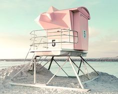 Photographie de la plage sauveteur tour décor Pastel par BreeMadden