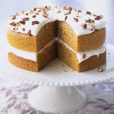 If you like pumpkin pie, you'll love this cake's subtle spice flavors and velvety cream cheese frosting. The slightly sweet and mild pecans add a pleasant crunch to the smooth frosting.