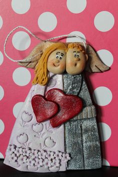 Salt dough Angel couple gift wall hanging by SaltDoughArt on Etsy