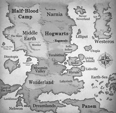 Fantasy literature map. Im torn between Hyrule and Hogwarts....