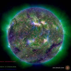This image combines three images with different temperatures. Each highlights a different part of the corona. Solar Flare Eruptions - Mar 2012. The largest solar storm in 5 years has sent charged particles heading towards Earth with the potential to disrupt power grids, navigation systems and satellites. NASA's models predict that the CMEs will impact both Earth and Mars, as well as pass by several NASA spacecraft (Rex Features via AP Images)