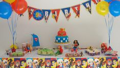 DC Super Hero Girls Party - Paging Fun Mums Girl Superhero Party, Batman Party, Sweet 16 Themes, Boy Birthday Parties, 9th Birthday, Birthday Ideas, Disney Cars Birthday, Girls Party Decorations, Dc Super Hero Girls