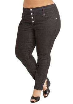 Karaoke Songstress Jeans in Black - Plus Size - Denim, Black, Solid, Buttons, Pockets, Casual, Rockabilly, Pinup, Vintage Inspired, High Waist, Skinny, Variation, Basic, Fall, Woven, Best Seller, Top Rated