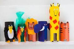Animales hechos con rollos de papel.