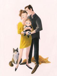 Paar Illustration, Illustration Art Drawing, Family Illustration, Portrait Illustration, Character Illustration, Illustrations, Family Drawing, Family Portrait Drawing, Family Sketch