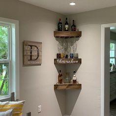 Wine Decor - Create The Right Wine Decisions Using Expert Tips Corner Wine Rack, Wine Rack Wall, Corner Wine Cabinet, Corner Shelves Kitchen, Corner Wall, Rustic Wine Racks, Rustic Shelves, Bar Shelves, Wooden Shelves