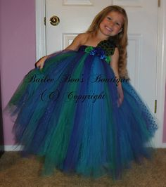 Tutu Dress in a beautiful Peacock theme is a darling Bailee-Boo's unique design and new twist on Tutu Dresses. All my tutus are hand made with