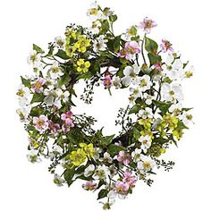 @Overstock - Dogwood 20-inch Wreath - Home decor accessory is perfect for your kitchen, sunroom or as a gift Silk plant wreath is warm and sunnyDogwood wreath is a full 20 inches in diameter  http://www.overstock.com/Home-Garden/Dogwood-20-inch-Wreath/4470305/product.html?CID=214117 $39.99