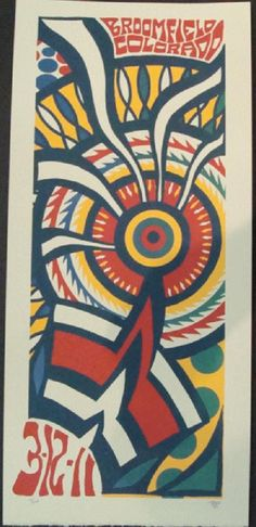 Original silkscreen concert poster for String Cheese Incident at The First Bank Center in Broomfield, CO in 2011. It is printed on Watercolor Paper with Acrylic Inks and measures around 10x19. Signed and numbered limited edition out of 100 by artist TRIPP.  This is for Saturday nights show (3/12/11)