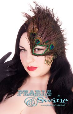 Half Mask Fascinator Couture Burlesque Masked by PearlsandSwine