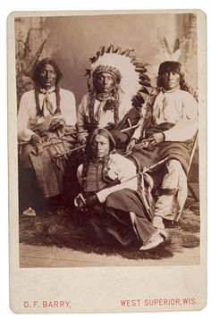 Beautiful D. F. Barry Cabinet Card of a Group of Sioux: L. to R.: Fool Thunder, Crow Eagle, Slow White Buffalo, and Iron Thunder.