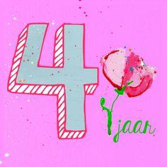 Meisje verjaardag 4 jaar - Verjaardagskaarten - Kaartje2go